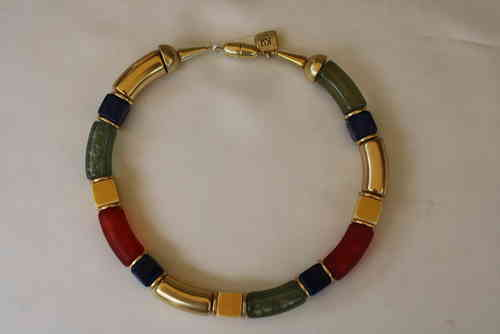necklace with red, green, gold curves 15x34mm, and yellow, blue cubes 14mm