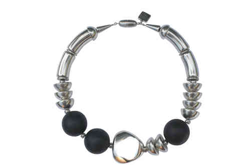 necklace with silver curves 15x34mm, black pearls 30mm, silver triangle 36mm and silver half pearls 22mm