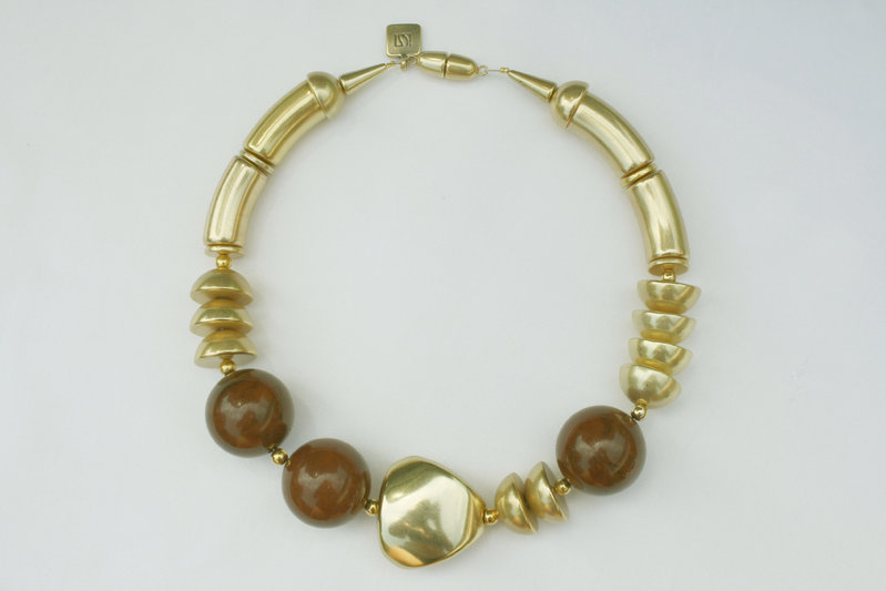 necklace with gold curves 15x34mm, dark brown pearls 30mm, gold triangle 36mm and gold half pearls 22mm