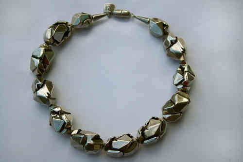 necklace with silver nuggets 23x37mm