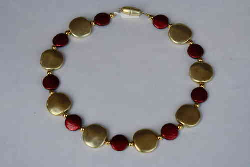 necklace with gold coins 23mm and red coins 16mm