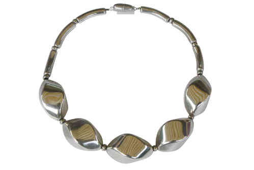 necklace with big silver nuts 34x46mm