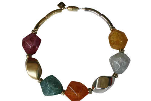 necklace with big silver and gold nuts 34x46mm und colored meteorite 35x41mm