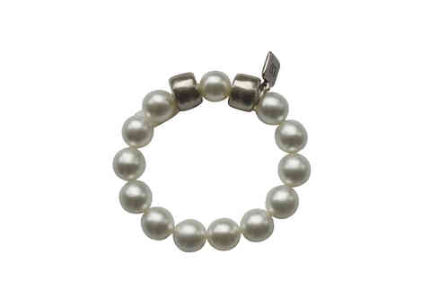 bracelett Ø55mm, with white pearls 14mm and silver hoops 17x12mm