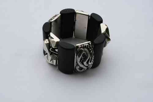 bracelett Ø65mm, with black plates 22x48mm, silver  nugget plates 24x47mm  and silver dragon plates 26x49mm