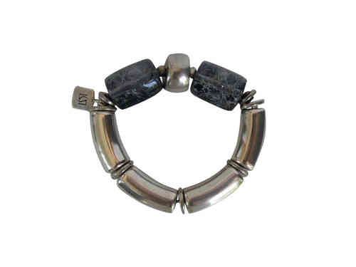 bracelett Ø60mm with silver curves 15x34mm, sprinkled grey roles 20x27mm and silver hoops