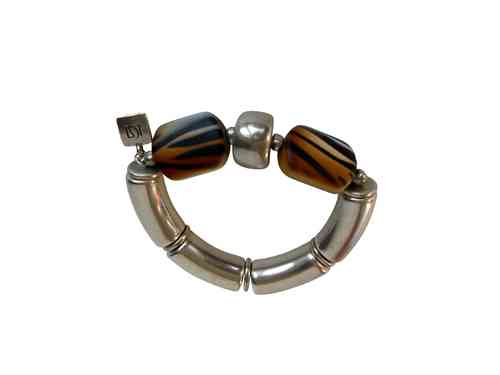 bracelett Ø60mm, with silver curves 15x34mm, silver hoops 17x12mm and brown tigerprint candy 26x38mm