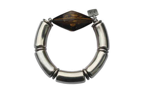 bracelett Ø60mm, with silver curves 15x34mm and amber clear  rhombus 27x47mm