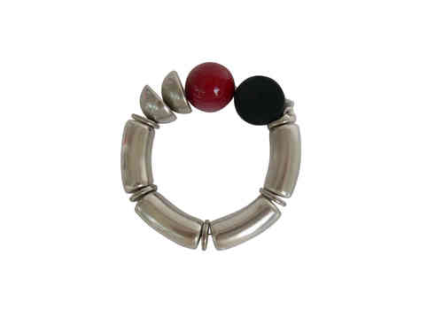 bracelett Ø60mm, with silver curves 15x34mm, silver half pearls 22mm and various colored red black pearls 24mm